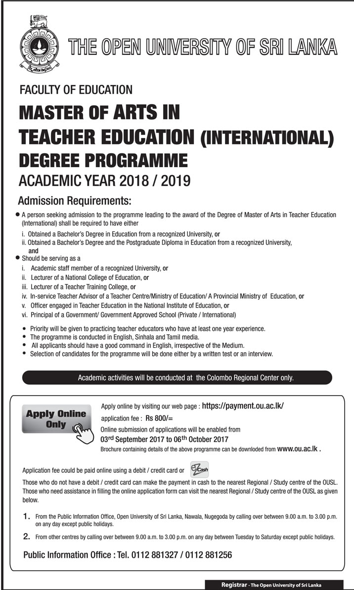 Master of Arts in Teacher Education (International) Degree